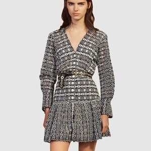SANDRO Chain-Link Rolly Eyelet Lace Dress